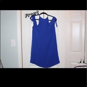 Blue, flowy dress.